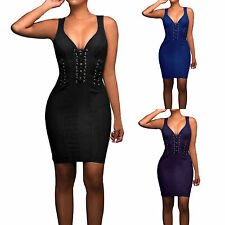 Bodycon Bandage Party Dress V Neck Club Dresses Hollow Out Sleeveless for Womens