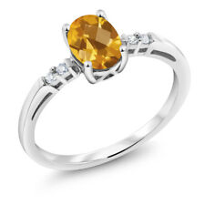 14K White Gold 0.73 Ct Oval Checkerboard Yellow Citrine White Diamond Ring