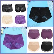 3Pcs Women Floral Lace High-waist Brief Underwear Knicker Underpants Panties New