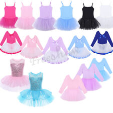 Kid Girl Glitter Tulle Ballet Dancewear Gym Leotard Tutu Dress Skirt Costume New