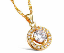 Austrian Crystal Lady diamond Necklace Pendant Chain 18K Yellow Gold GP