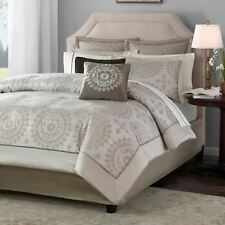 Queen Cal King Bed Bag Neutral Taupe Ivory Medallion 12 pc Comforter Sheet Set