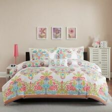 NEW Twin XL Full Queen Bed Coral Teal Blue Green Spring Damask 4pc Comforter Set