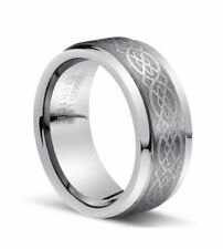 Men's 8mm  Genuine Tungsten Carbide Loyal Celtic Knot Wedding Band Ring