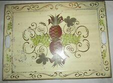VINTAGE HAND PAINTED TOLE PINEAPPLE GRAPES FRUIT METAL HANDLED TOLE TRAY