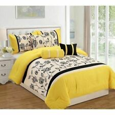 NEW Twin Queen King Bed Yellow Black Off White Floral Stripe 7 pc Comforter Set