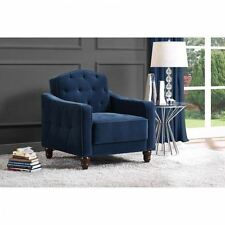 Vintage Tufted Arm Chair Living Room Bedroom Upholstered Armchair Wood Fabric