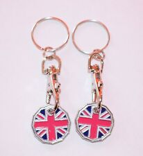 UNION JACK ONE POUND COIN TOKEN KEYRING SHOPPING TROLLEY KEYRING Free