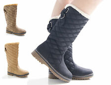 NEW LADIES WOMENS WINTER FAUX FUX LINED QUILTED MID CALF BOOTS SHOES SIZE 3-8