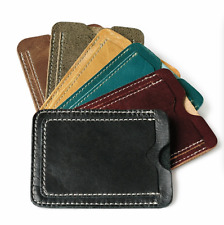 Genuine Cowhide Leather ID Credit Card Holder Pouch Slim Wallet Money Bag Purse