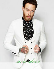 New Fashion White Men's Tuxedos Suits 3 Pieces Groom Party Work Custom 2017