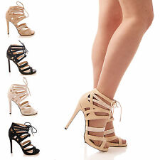 LADIES WOMENS LACE UP HEELS HIGH PLATFORM SHOES PARTY GLADIATOR SNAKE SIZE 3-8