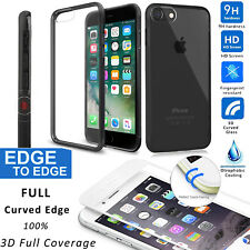 REAL Glass Screen HARD Back Rubber Bumper Cover Case For Apple iPhone 8 / 7 Plus