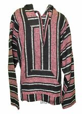 X-LARGE Mexican BAJA HOODIE - PINK/BLACK - Mexican PONCHO Sweater Surfer