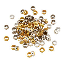100pcs Large Hole Brass European Metal Beads Rondelle Spacers Charms 7x4mm Craft