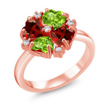 2.18 Ct Heart Shape Green Peridot Red Garnet 18K Rose Gold Plated Silver Ring