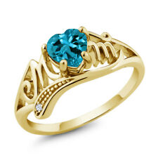 0.96 Ct London Blue Topaz White Topaz 18K Yellow Gold Plated Silver Ring