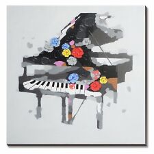 Hand Painted Piano Musical Oil Painting on Canvas Instruments Modern Art Wall