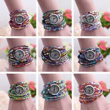 Beaded Wrist Watch Women's 1 Pcs Bangle Wrist Watch Quartz Crystal Bracelet