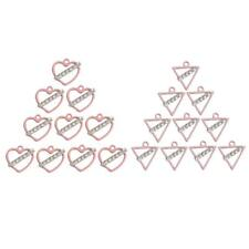 10pcs Pink Heart/Triangle Alloy Rhinestone Pendant Charms DIY Jewelry Findings