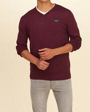 Abercrombie and Fitch Hollister Mens V Neck Icon Pullover Sweater S Burgundy NWT