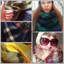 Women Square Multifunction Plaid Blanket Scarf Checked Wrap Shawl Winter TXGT
