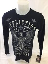Mens NEW AFFLICTION BLACK THERMAL LONG SLEEVE BLACK DEATH LIVE FAST A13815 NWT
