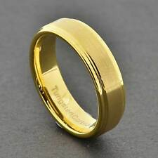 5mm Unisex Tungsten Carbide Gold Satin Flat Top Shiny Step Edge Wedding Band