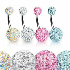 Shamballa Double Crystal Balls Navel Bar & Other Belly Bars ~ Plus Free Gift Bag