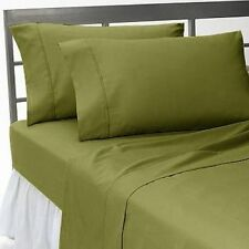 Moss Solid & Stripe Scala Bedding Sheet Set/Duvet/Fitted/Bed Skirt UK All Sizes