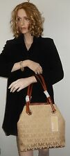MICHAEL KORS JET SET GRAB BAG MK SIGNATURE JACQUARD W/LEATHER BG/CAM/LUG NWT