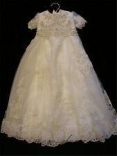 Beads White Ivory Baptism Dres Infant 0-24 Months  Baby Dress Christening Gowns