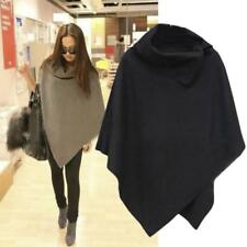 Women Batwing Wool Poncho Warm Coat Jacket Loose Cloak Cape Parka Winter Clothes