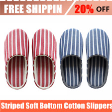 Striped Soft Bottom Home Cotton Slippers Women Indoor Anti-slip Warm Shoes VC