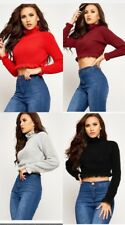 Women stylish Frill Ladies Top Ruffle Jumper Knitted Frill Crop Top Long Sleeve