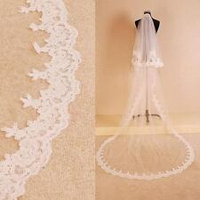 2.5M Long White Ivory 2T Lace Edge Cathedral Bridal Wedding Veil With Comb