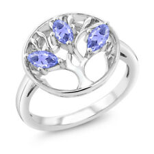 0.75 Ct Marquise Blue Tanzanite 925 Sterling Silver 3-Stone Ring
