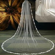 Bride Veil 1 Layer White Ivory Wedding Veils Applique Narrow Lace Edge with comb