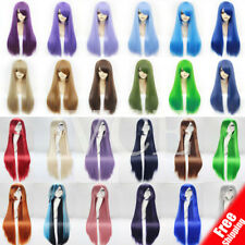 58cm Long Halloween Hair Wig with Bangs for Women Ladies Anime Cosplay Black Red