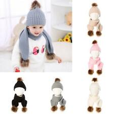 Winter Baby Warm Toddler Girl Boy Crochet Knit Pompom Hat Cap Beanie Scarf Set