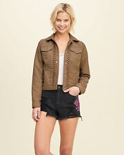 Abercrombie & Fitch Hollister Jacket Women's Faux Suede Jacket XS Tan Brown NWT