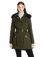 GUESS Jacket Women's Belted Quilted w- Fur Trim Winter Parka Anorak M Olive NWT