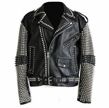 Handmade Men Studded Leather Biker Motorcycle Punk Rocker jacket Rock punk Men