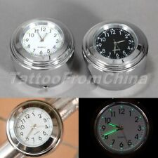 """Motorcycle 7/8"""" 1"""" Handlebar Black Chrome Dial Clock Temp Thermometer For Harley"""