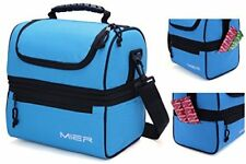 Adult Lunch Box Blue Insulated Lunch Bag Large Cooler Tote Bag for Men, Women