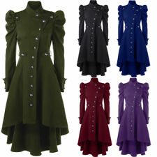 Women Fashion Vintage Longline Coat Puff Shoulder Button Up Dip Hem Trench Coat