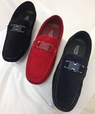 MEN GIOVANNI DRESS SHOE LOAFER CASUAL STYLE SLIP-ON SUEDE NAVY RED BLACK  M15-46