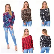 WOMENS LADIES LONG SLEEVE OFF SHOULDER TARTAN ANIMAL LEOPARD PRINT BATWING TOP