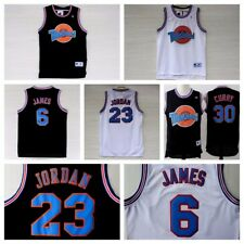 Space Jam Tune Squad Basketball Jersey Jordan LeBron Curry Black White Stitched