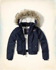 Abercrombie & Fitch Hollister All Weather Sherpa Bomber Jacket XS Navy Blue NWT